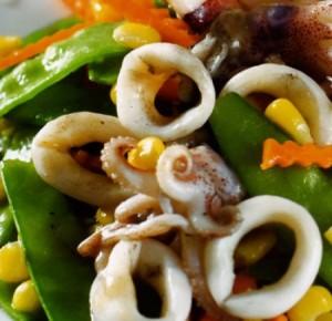 Món mực xào đậu Hòa Lan