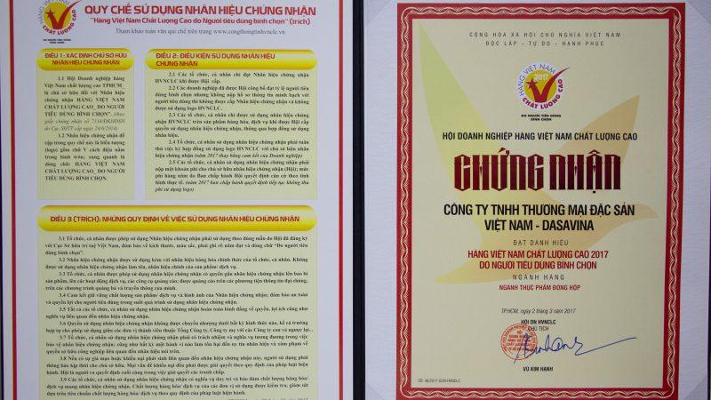 Chứng nhận Hàng Việt Nam Chất lượng cao năm 2017