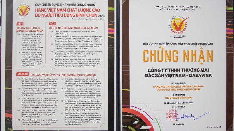 Chứng nhận Hàng Việt Nam Chất lượng cao năm 2019